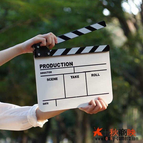 画像4: ドラマ・映画撮影・自主制作用 アクリル製 ホワイトアクリルボード式 業務用 カチンコ 黒白柄