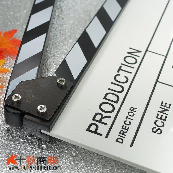 画像3: ドラマ・映画撮影・自主制作用 アクリル製 ホワイトアクリルボード式 業務用 カチンコ 黒白柄